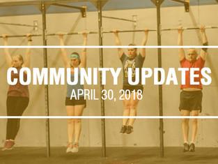 Community Updates April 30, 2018