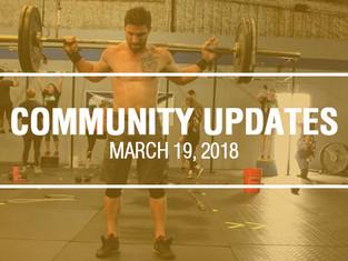 Community Updates March 19, 2018