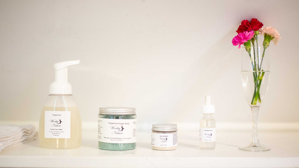 Peppermint  Skin Care Set with mixing bowl kit.