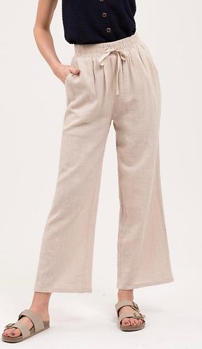 Linen Drawstring Waist Pants Front View
