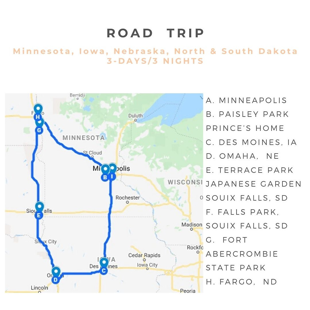 3 Day Midwest Road Trip Map