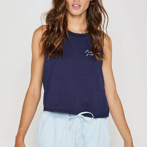 Navy Cropped Tank Front View