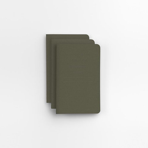 Dark Grey Embossed Pocket Notebook Set of Three