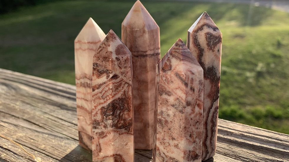 Banded Red Calcite Tower for vitality and renewal