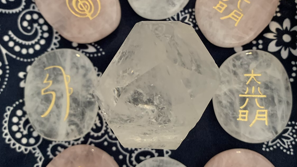 Reiki carved flat crystals for healing work