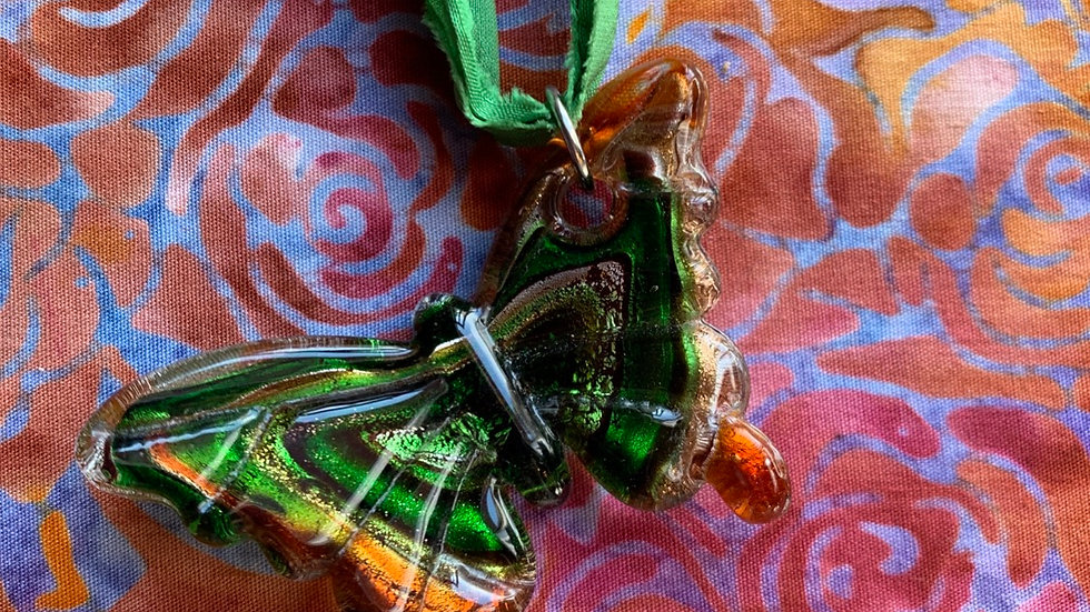 Glass Butterfly green sari necklace