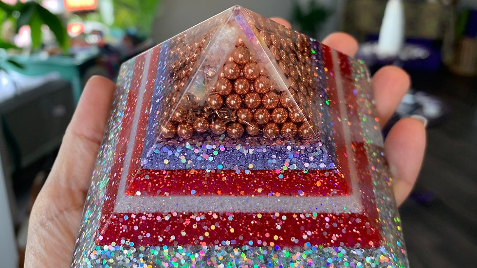 Aura Quartz & Copper Resin Pyramid