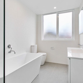 Crisp all white bathroom renovation- Northern Beaches