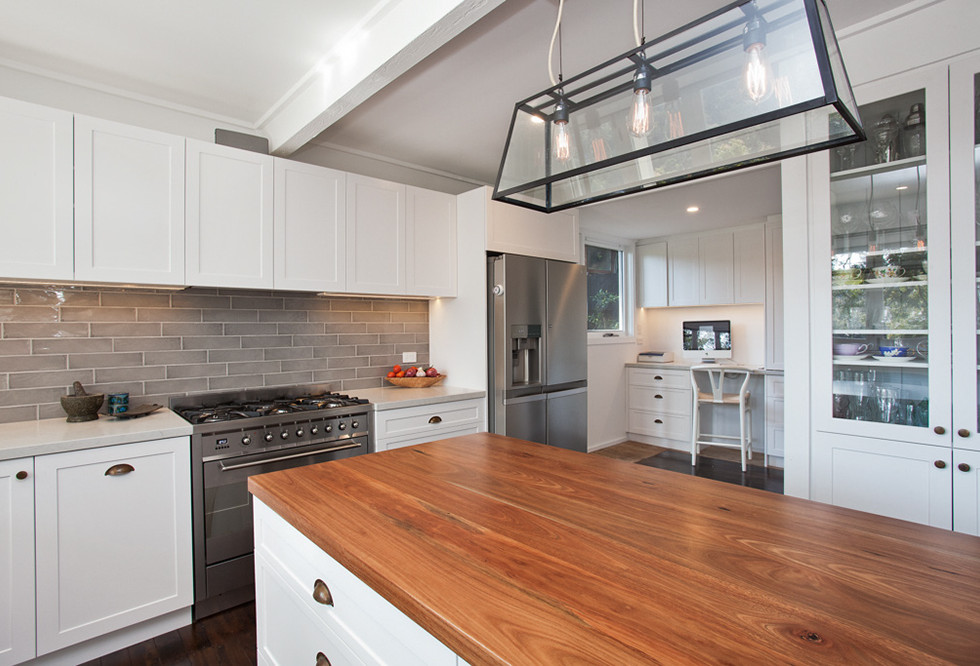 timber benchtop new kitchen design  Ne