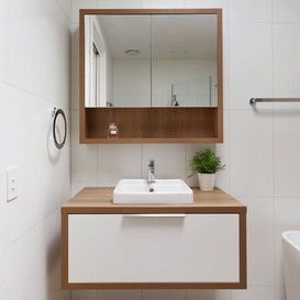 Fresh white & timber in this custom made vanity