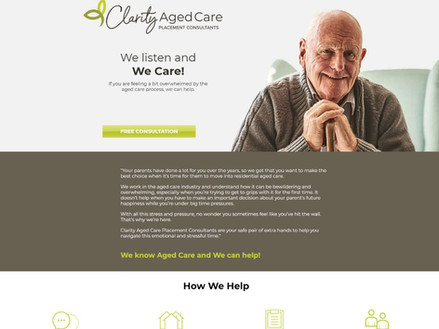 Clarity Aged Care website - single page