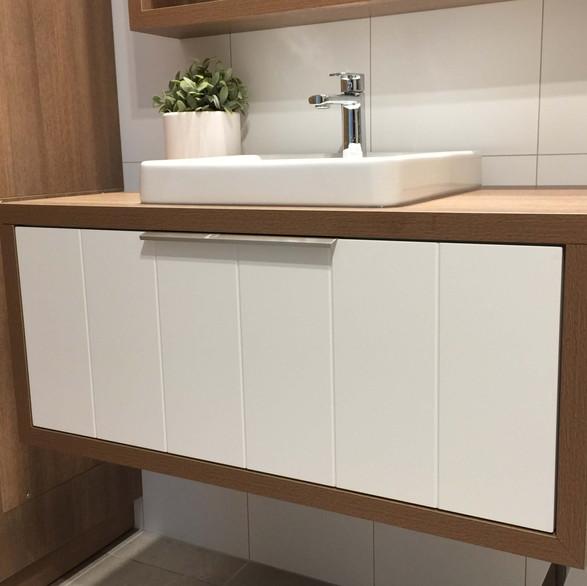 custom made bathroom vanity - semi recessed sink