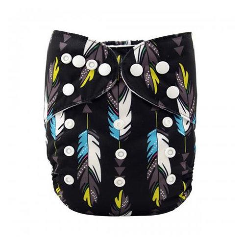 ALVA OS Pocket Diaper - Black Feathers