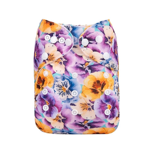 ALVA OS Pocket Diaper - Purple Flowers