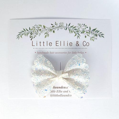 Glitter Bow - White