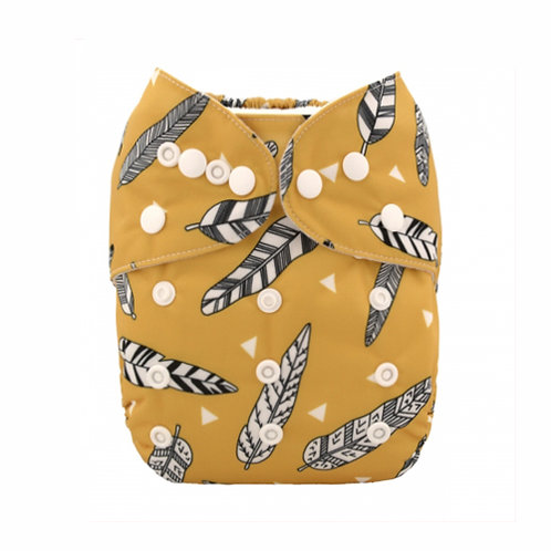 ALVA OS Pocket Diaper - Gold Feathers