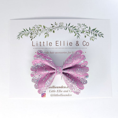 Glitter Bow - Pink Lace