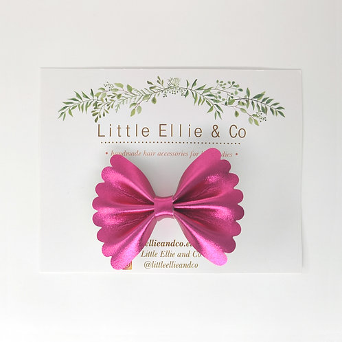 Faux Leather Bow - Hot Pink