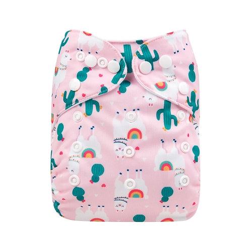 ALVA OS Pocket Diaper - Pink Llamas