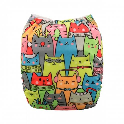 ALVA OS Pocket Diaper - Colorful Cats
