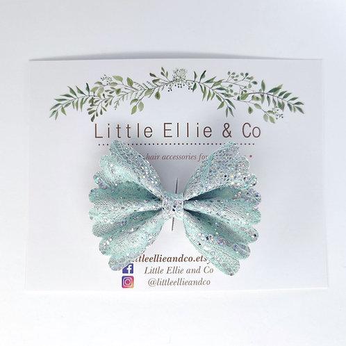 Glitter Bow - Mint Lace