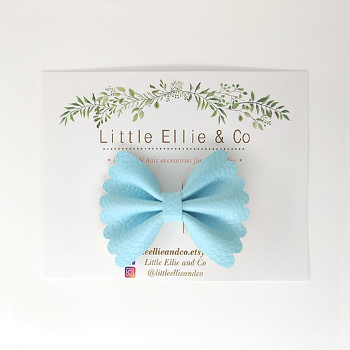 Faux Leather Bow - Aqua