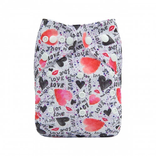 ALVA OS Pocket Diaper - Love Hearts