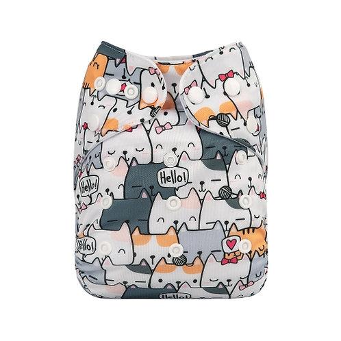 ALVA OS Pocket Diaper - Cute Cats
