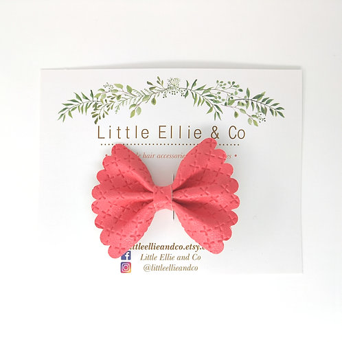 Faux Leather Bow - Carnation