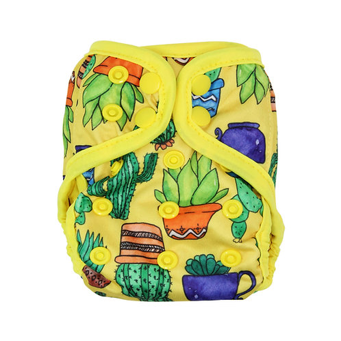 """Greener Odyssey NB Diaper Cover """"Potted Succulents"""""""