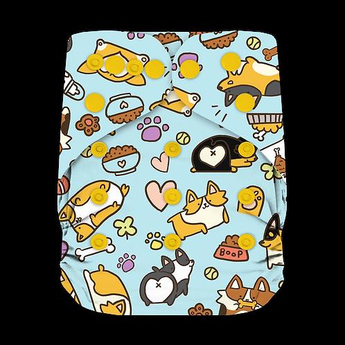 "Greener Odyssey OS Pocket Diaper ""Corgi Party"""