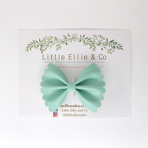 Faux Leather Bow - Mint