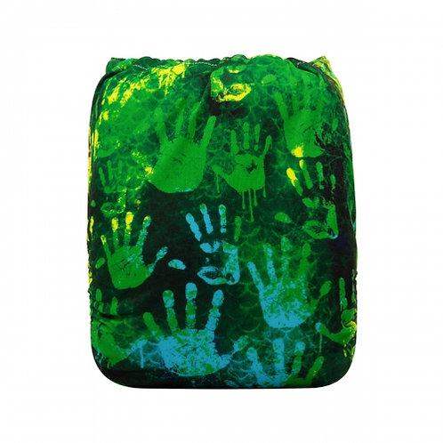 ALVA OS Pocket Diaper - Green Hand Prints