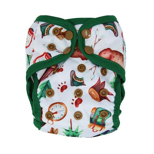 "Greener Odyssey NB Diaper Cover ""Happy Camper"""