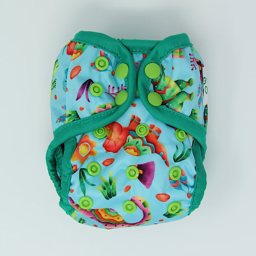 "Greener Odyssey NB Diaper Cover ""Dinosaur Party"""