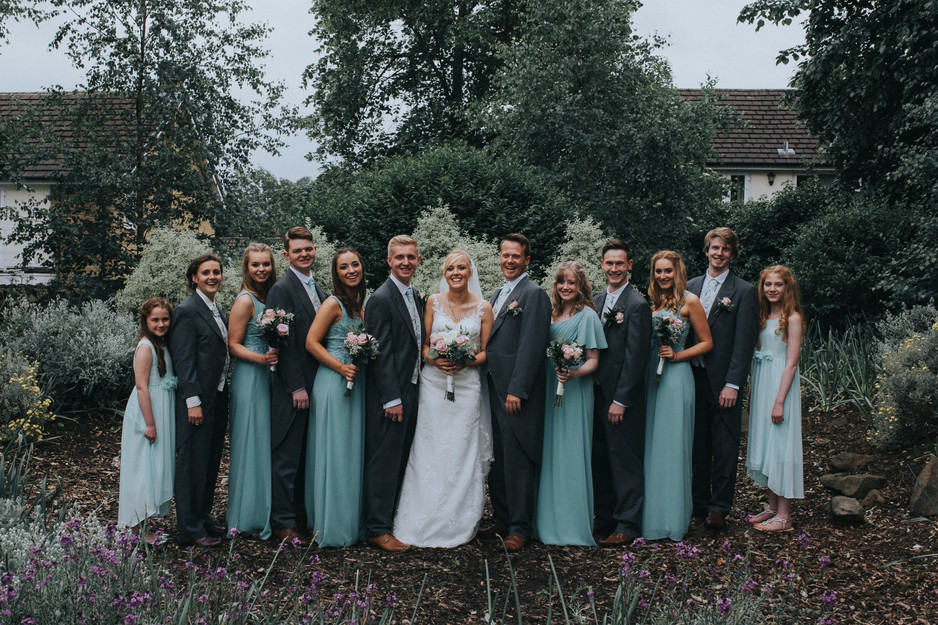 pastel floral wedding photography bridal party