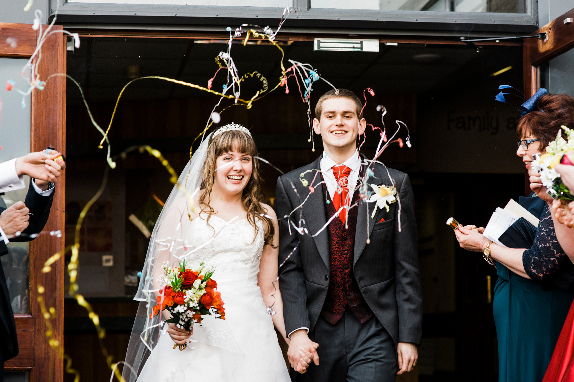 party poppers Huddersfield Christian wedding