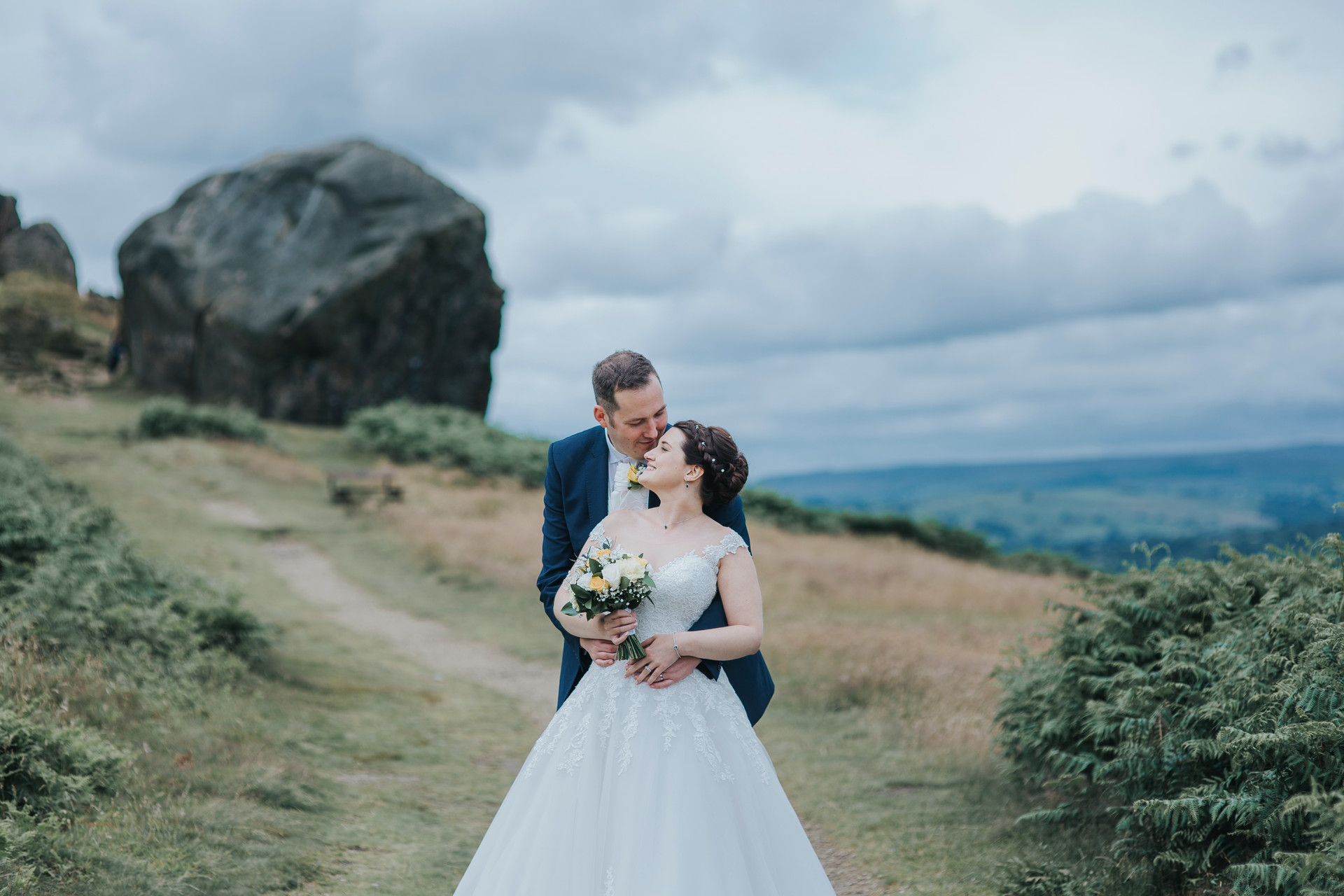 wedding photographs at cow and calf rocks ilkley