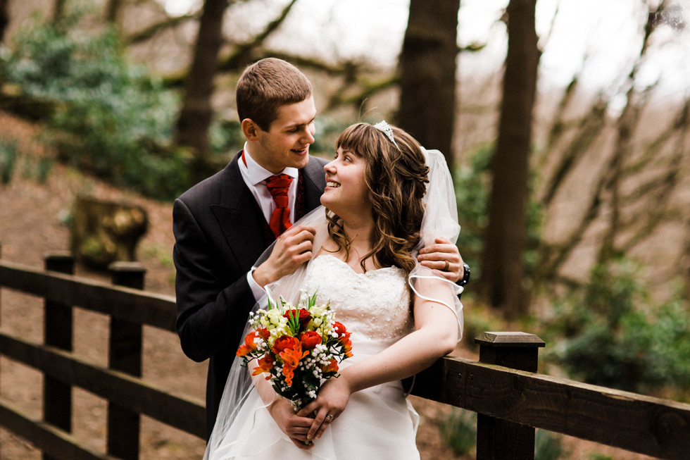 local park bride and groom portraits