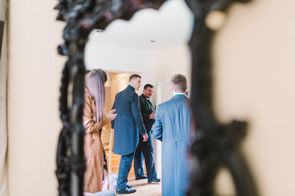 groom leaving for wedding peckforton castle