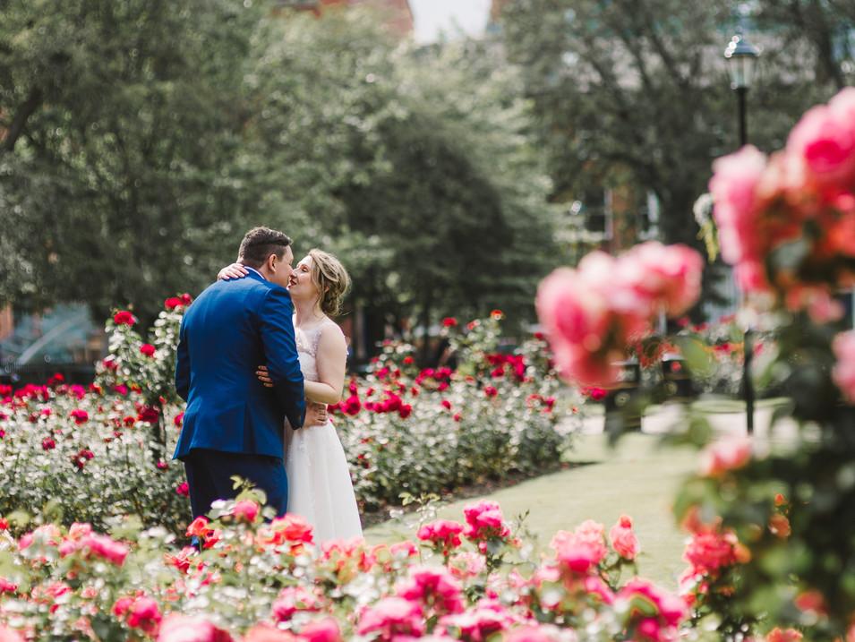 bride and groom in rose garden