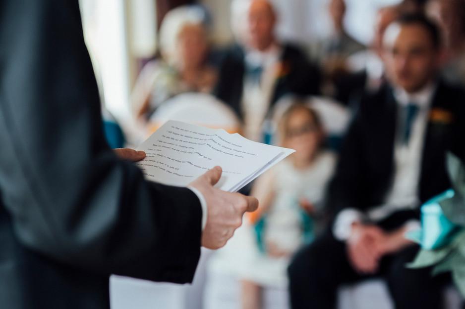 reading at Dunkenhalgh Hotel wedding