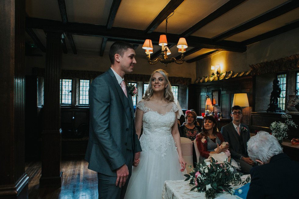 bride and groom at holdsworth house hotel