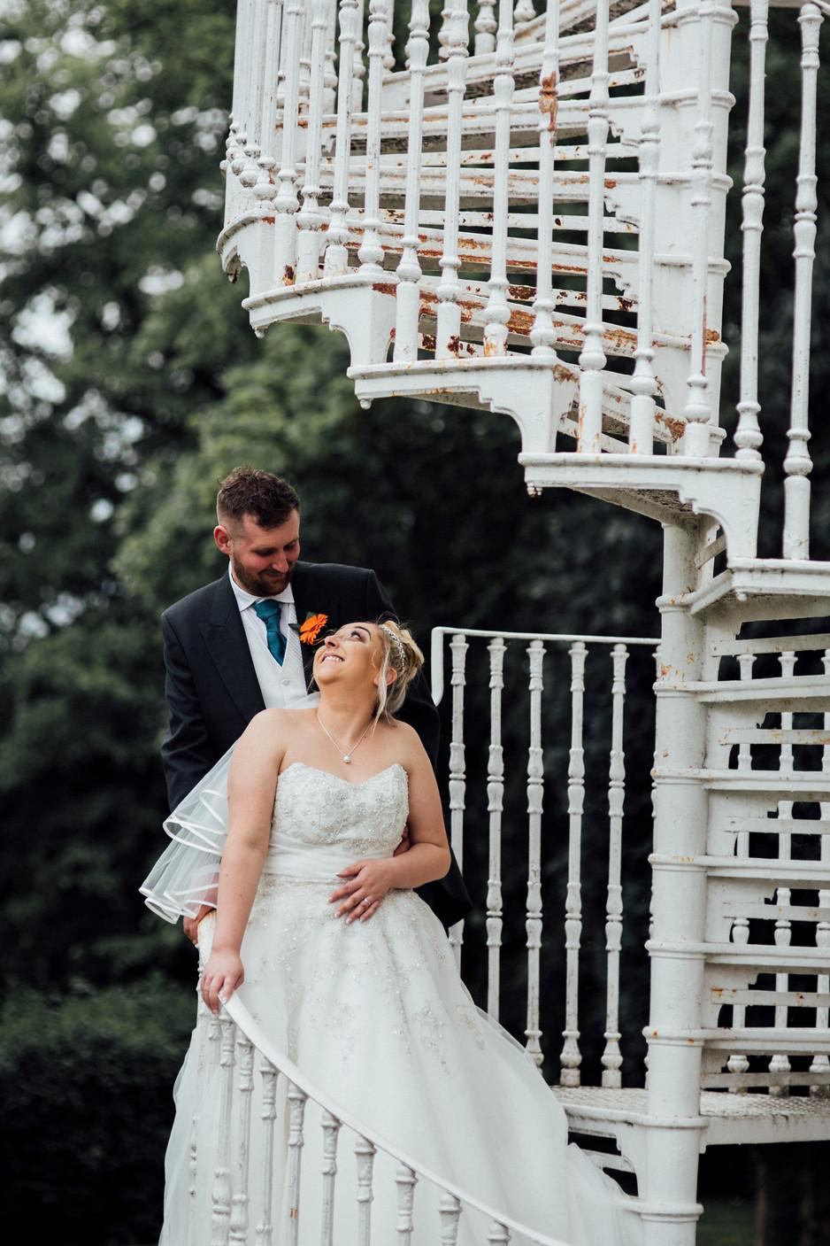 Dunkenhalgh Hotel saircase wedding photography