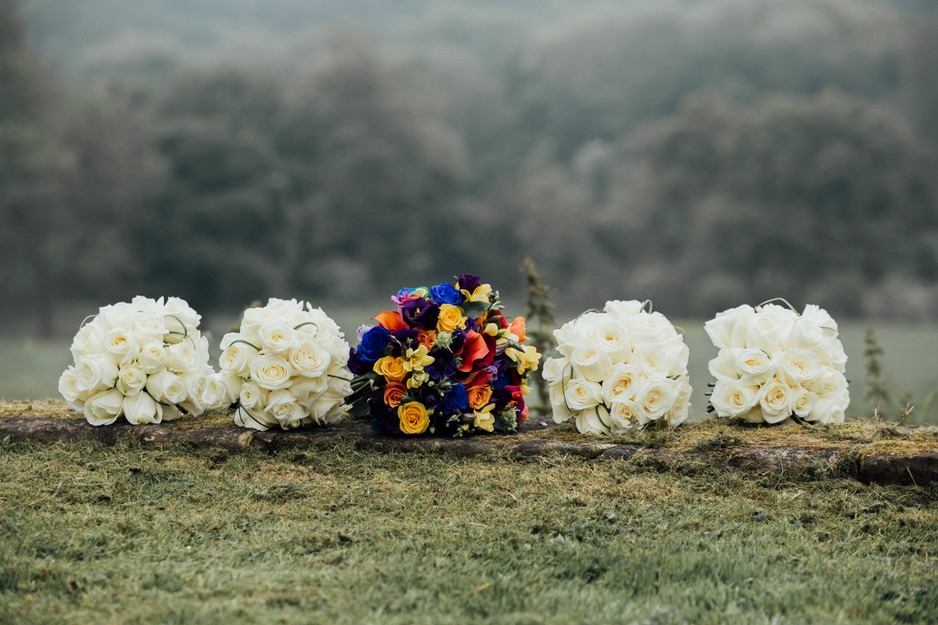 rainbow themed wedding flowers