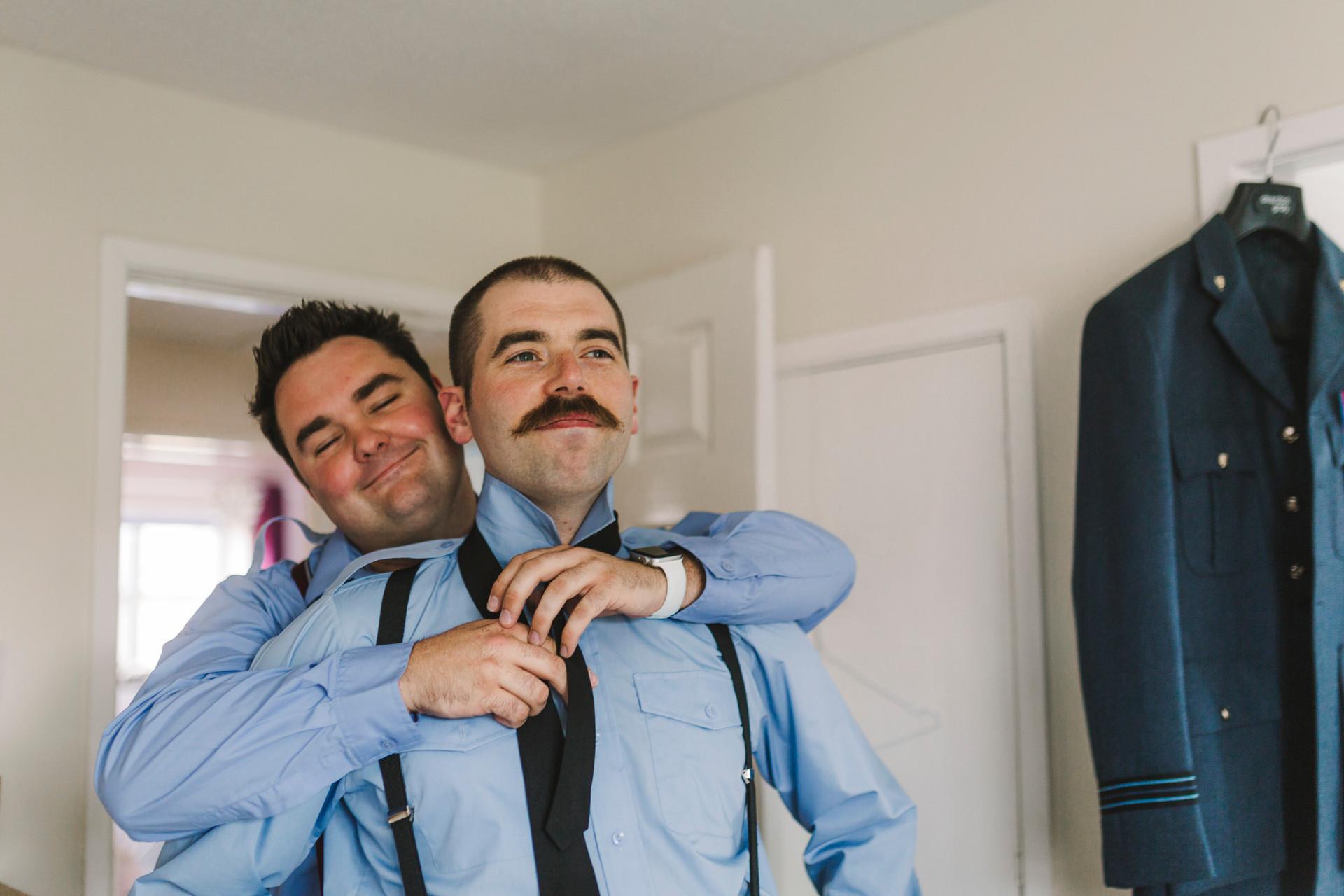 groom preperation tie