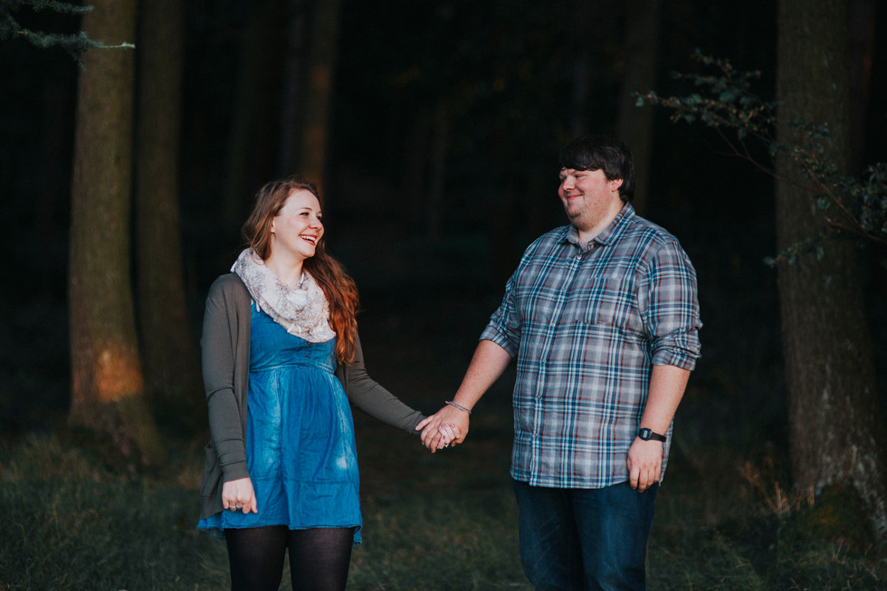 engagement photos in the trees
