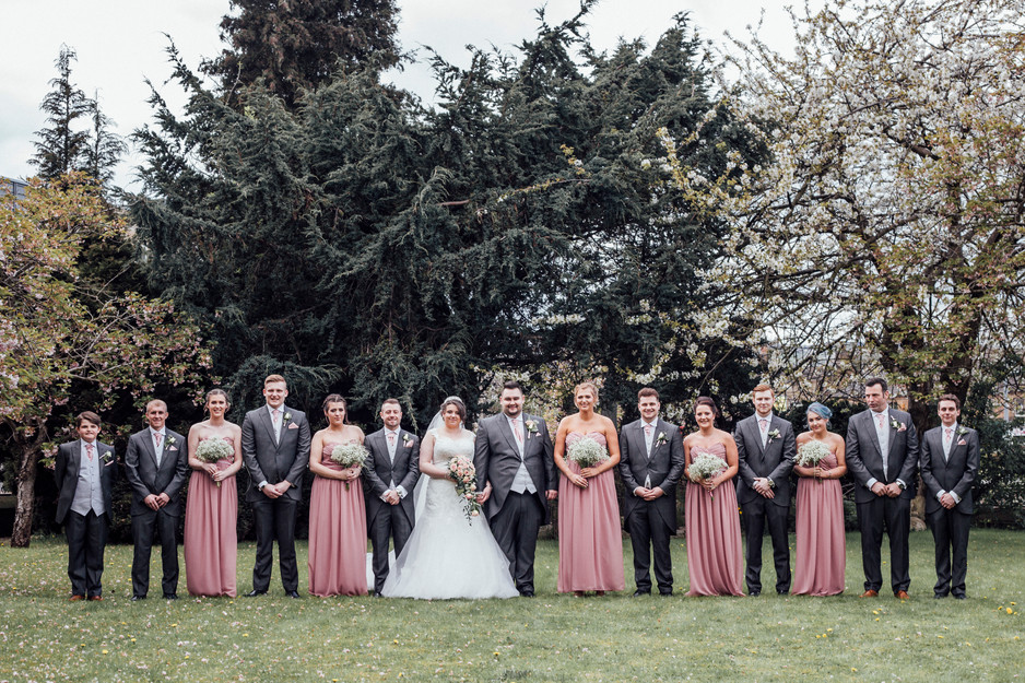 the bridal party spring wedding yorkshire
