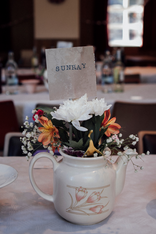 teapot and flowers centre pieces