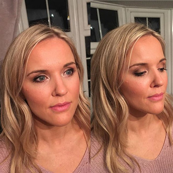 Another party makeover on the gorgeous _bexyates _Bex went for a dewy, luminous Makeover, a subtle smokey eye and Pink lip _ctilburymakeup (